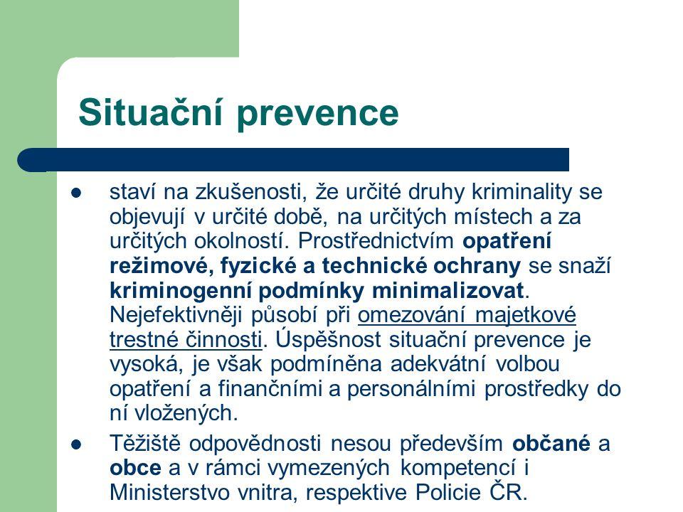 Situační prevence staví na zkušenosti, že určité druhy kriminality se objevují v určité době, na určitých místech a za určitých okolností.