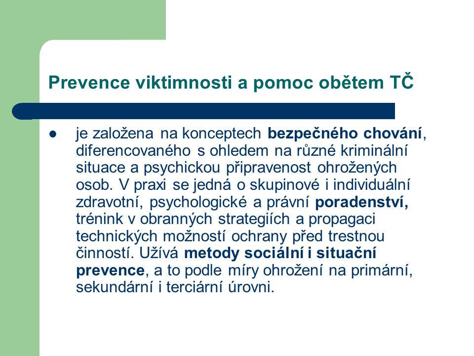 Prevence viktimnosti a pomoc obětem TČ je založena na konceptech bezpečného chování, diferencovaného s ohledem na různé kriminální situace a psychickou připravenost ohrožených osob.