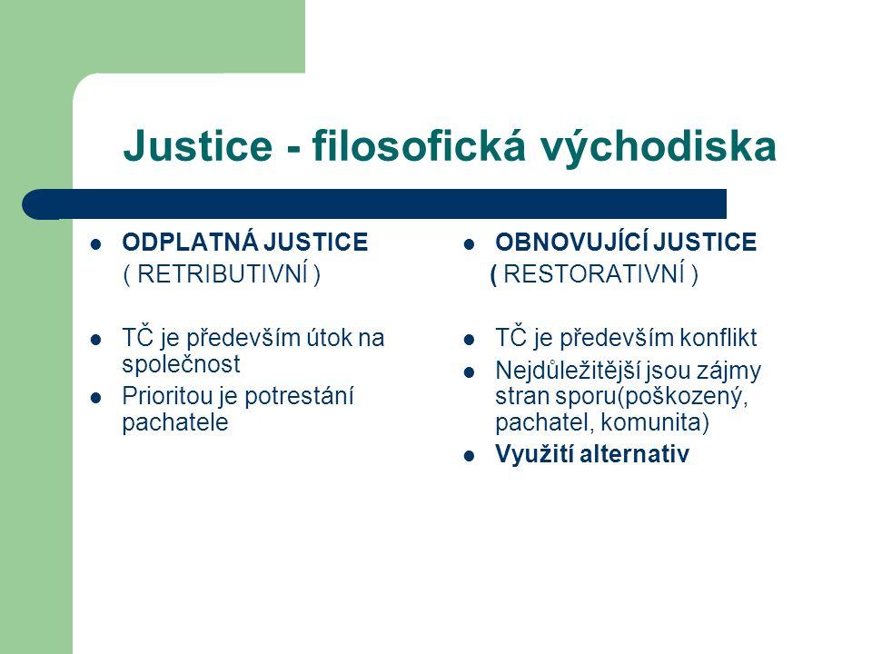 Justice - filosofická východiska ODPLATNÁ JUSTICE ( RETRIBUTIVNÍ ) TČ je především útok na společnost Prioritou je potrestání pachatele OBNOVUJÍCÍ JUSTICE ( RESTORATIVNÍ ) TČ je především konflikt Nejdůležitější jsou zájmy stran sporu(poškozený, pachatel, komunita) Využití alternativ