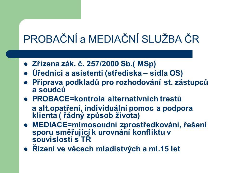 PROBAČNÍ a MEDIAČNÍ SLUŽBA ČR Zřízena zák. č.