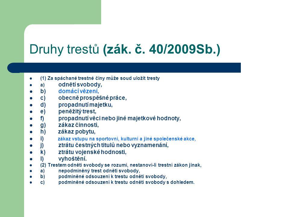 Druhy trestů (zák. č.