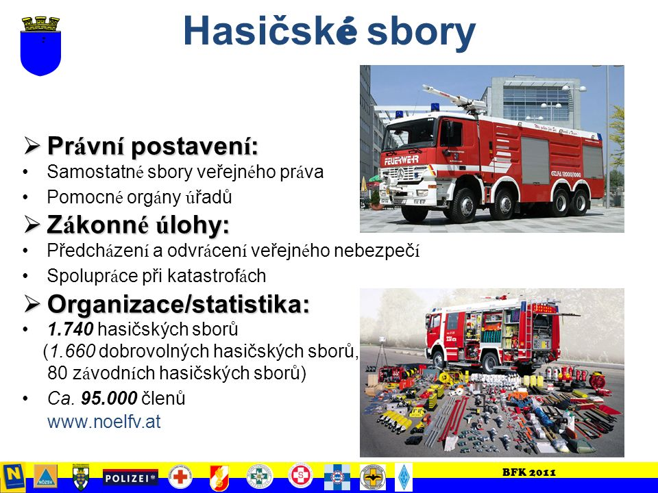 BFK 2011 2. č ást Možnosti a legislativní podmínky pro zásah Dolnorakouských pomocných sil a zásahových organizací při mimořádných událostech