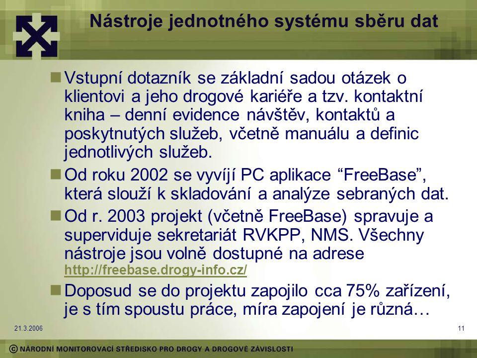 21.3.200611 Nástroje jednotného systému sběru dat Vstupní dotazník se základní sadou otázek o klientovi a jeho drogové kariéře a tzv.