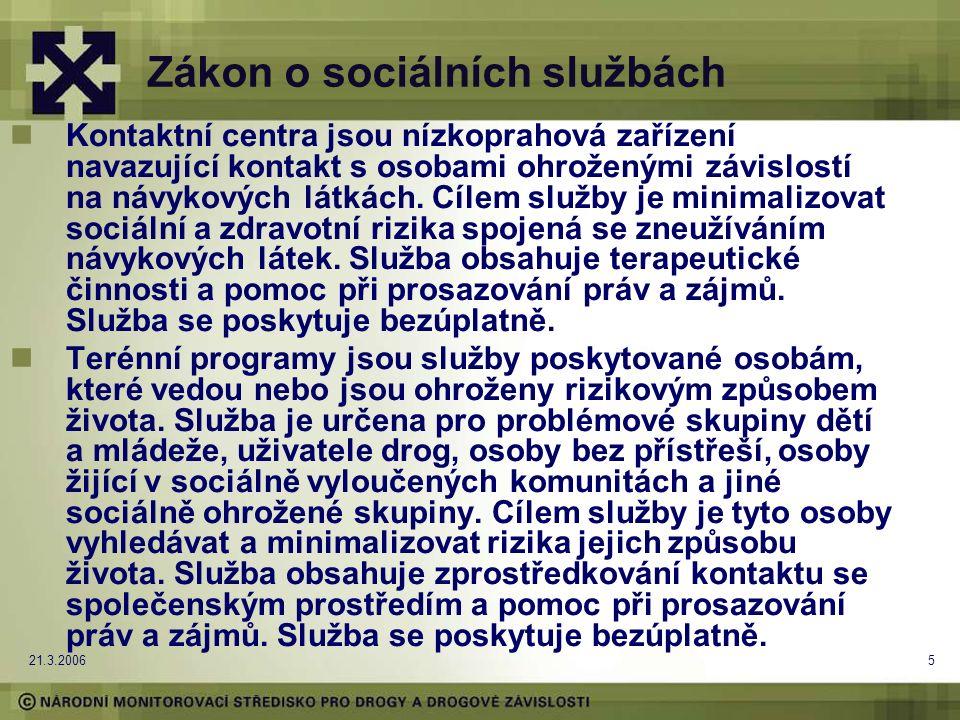 21.3.20065 Zákon o sociálních službách Kontaktní centra jsou nízkoprahová zařízení navazující kontakt s osobami ohroženými závislostí na návykových látkách.