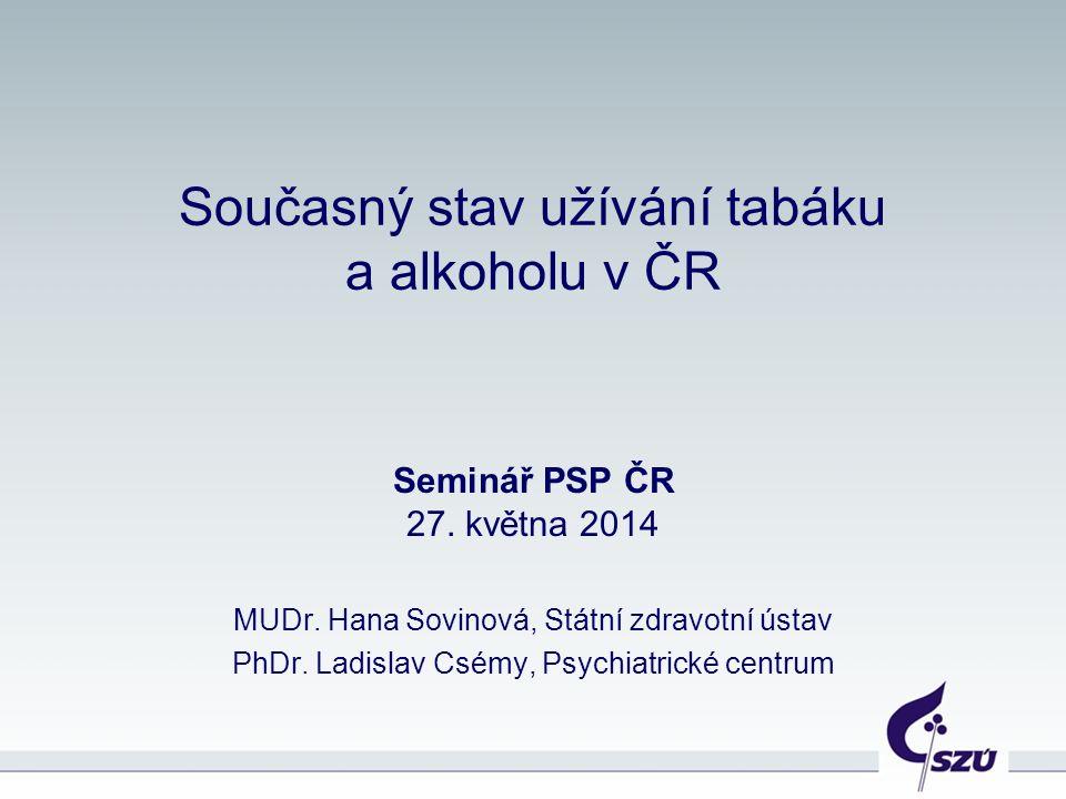 Současný stav užívání tabáku a alkoholu v ČR Seminář PSP ČR 27.