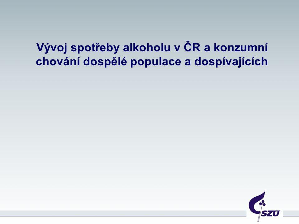 Vývoj spotřeby alkoholu v ČR a konzumní chování dospělé populace a dospívajících