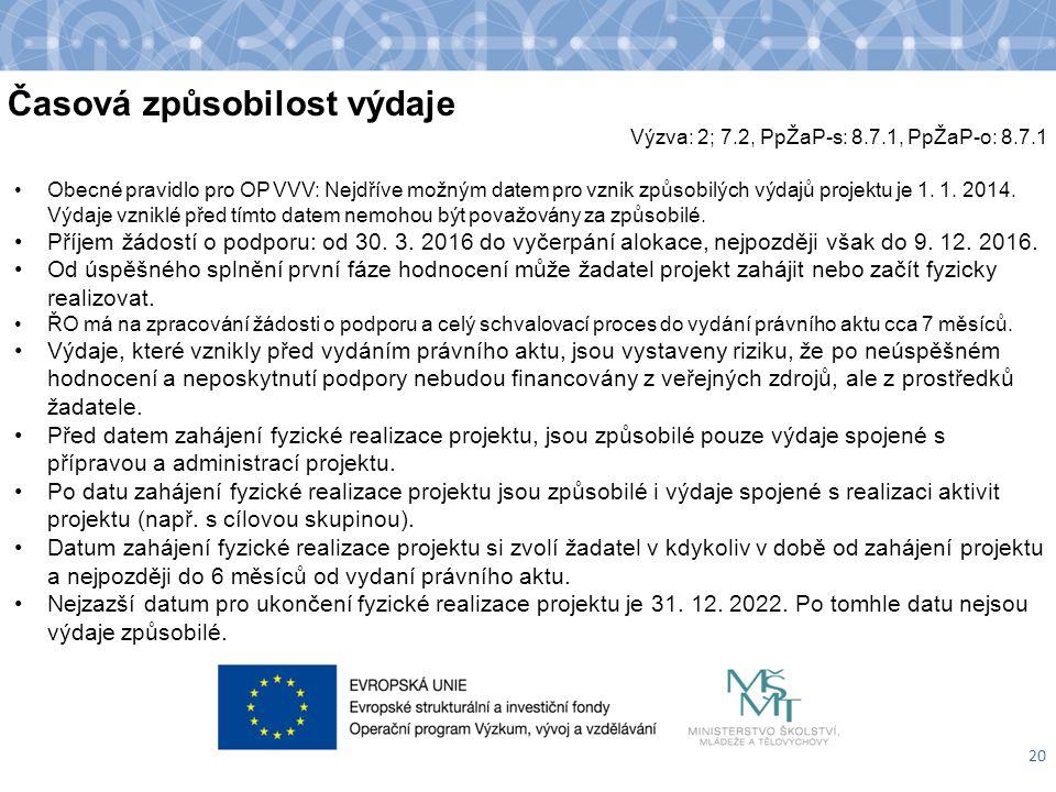 Časová způsobilost výdaje 20 Obecné pravidlo pro OP VVV: Nejdříve možným datem pro vznik způsobilých výdajů projektu je 1. 1. 2014. Výdaje vzniklé pře