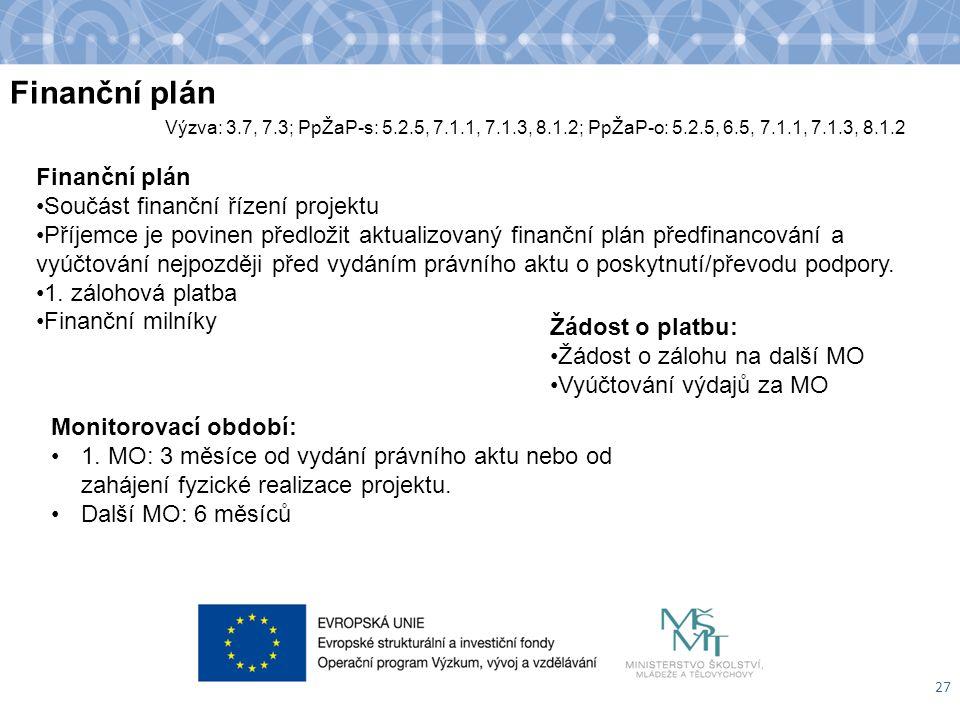 Finanční plán 27 Výzva: 3.7, 7.3; PpŽaP-s: 5.2.5, 7.1.1, 7.1.3, 8.1.2; PpŽaP-o: 5.2.5, 6.5, 7.1.1, 7.1.3, 8.1.2 Žádost o platbu: Žádost o zálohu na da