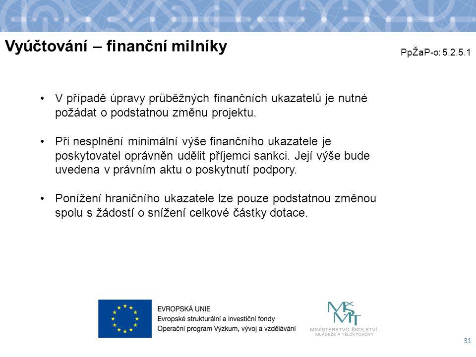 Vyúčtování – finanční milníky 31 V případě úpravy průběžných finančních ukazatelů je nutné požádat o podstatnou změnu projektu. Při nesplnění minimáln