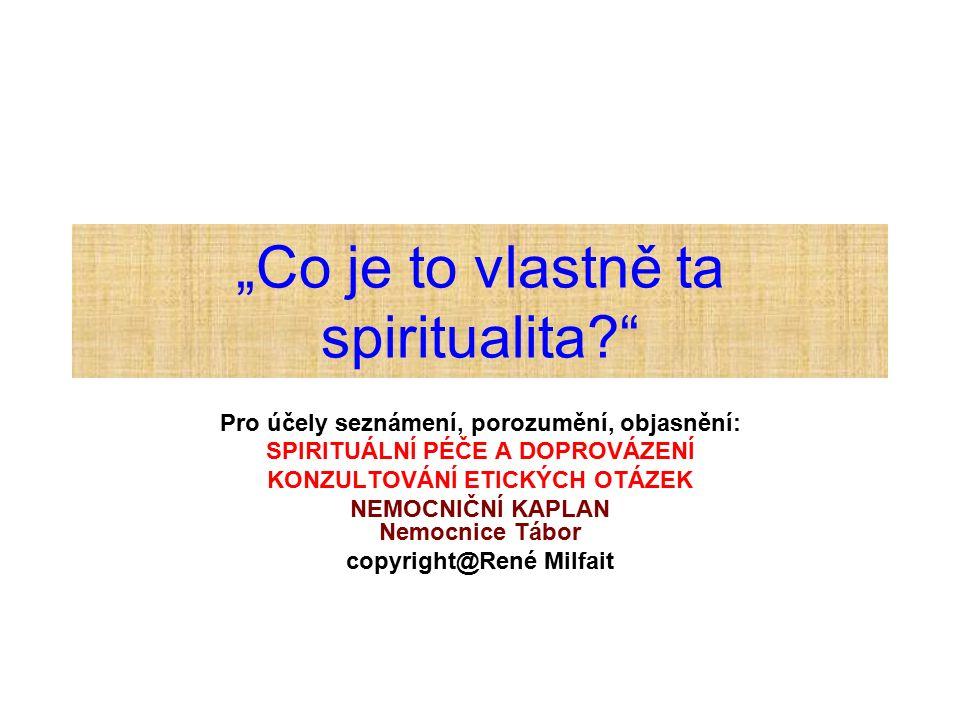 """Pojetí spirituality v širším smyslu: bez náboženské tradice Souvisí s: hledáním centrálního cíle v životě, otázkami po smyslu existence, bytí (""""Proč, k čemu vlastně žiji, existuji? ), životním směřováním, naplněním, povoláním(i), uskutečňováním sebe sama (""""kým jsem, můžu či mám v životě být, jak mám jednat ); tím, co považuje někdo v životě za nejvyšší hodnotu."""