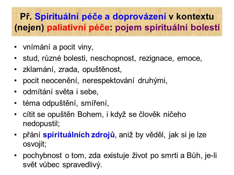 Př. Spirituální péče a doprovázení v kontextu (nejen) paliativní péče: pojem spirituální bolesti vnímání a pocit viny, stud, různé bolesti, neschopnos