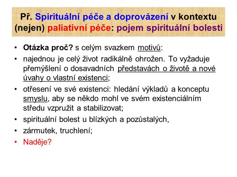 Př. Spirituální péče a doprovázení v kontextu (nejen) paliativní péče: pojem spirituální bolesti Otázka proč? s celým svazkem motivů: najednou je celý