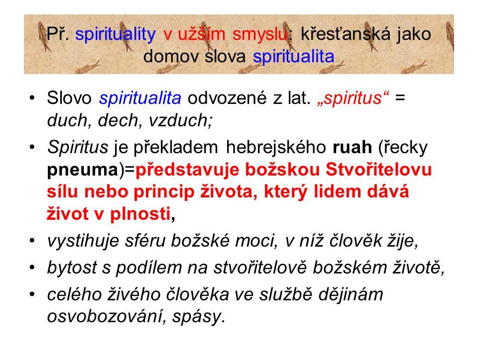 "Př. spirituality v užším smyslu: křesťanská jako domov slova spiritualita Slovo spiritualita odvozené z lat. ""spiritus"" = duch, dech, vzduch; Spiritus"