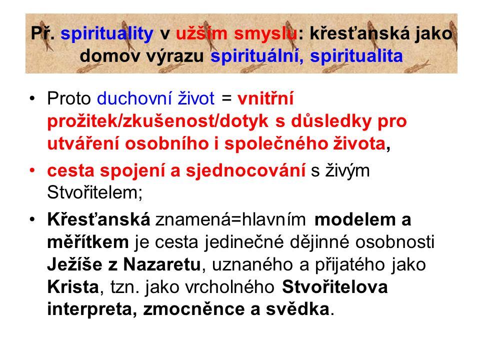 Př. spirituality v užším smyslu: křesťanská jako domov výrazu spirituální, spiritualita Proto duchovní život = vnitřní prožitek/zkušenost/dotyk s důsl
