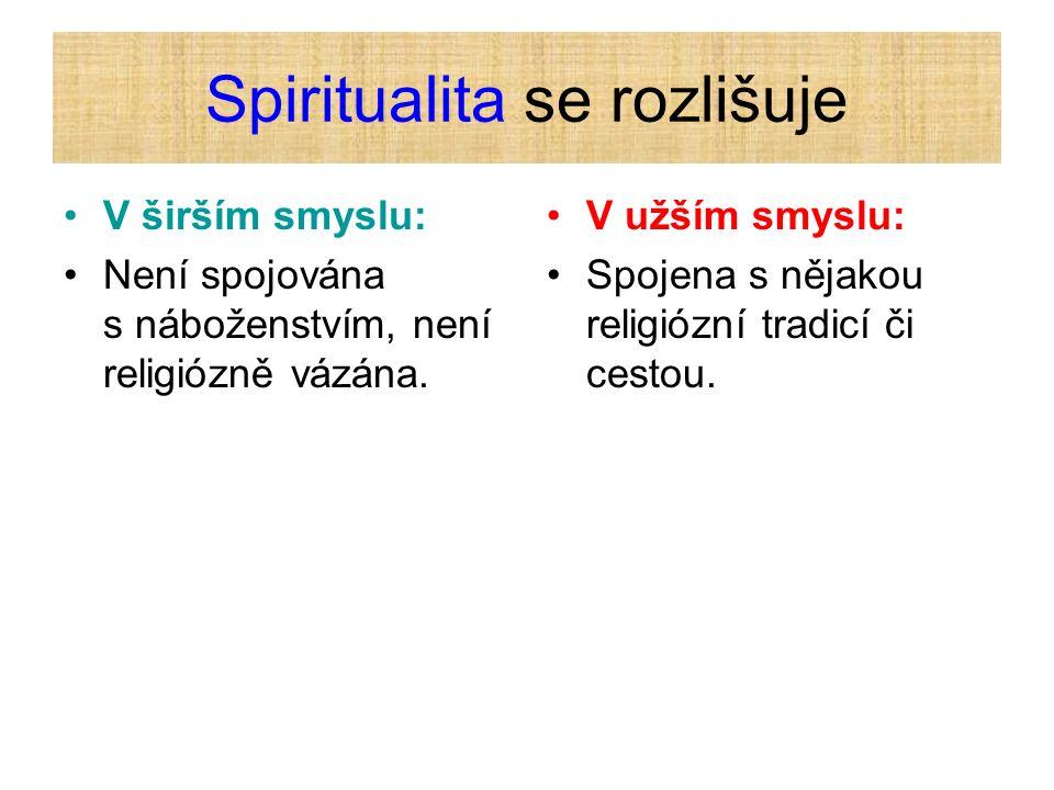 Spiritualita se rozlišuje V širším smyslu: Není spojována s náboženstvím, není religiózně vázána. V užším smyslu: Spojena s nějakou religiózní tradicí