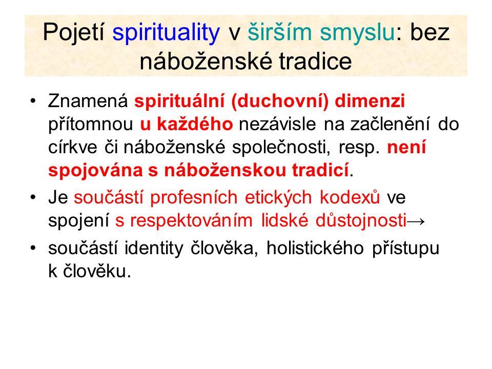 Pojetí spirituality v širším smyslu: bez náboženské tradice Znamená spirituální (duchovní) dimenzi přítomnou u každého nezávisle na začlenění do církv