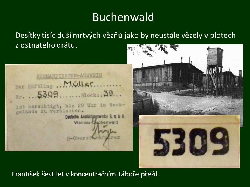 Buchenwald Desítky tisíc duší mrtvých vězňů jako by neustále vězely v plotech z ostnatého drátu. František šest let v koncentračním táboře přežil.