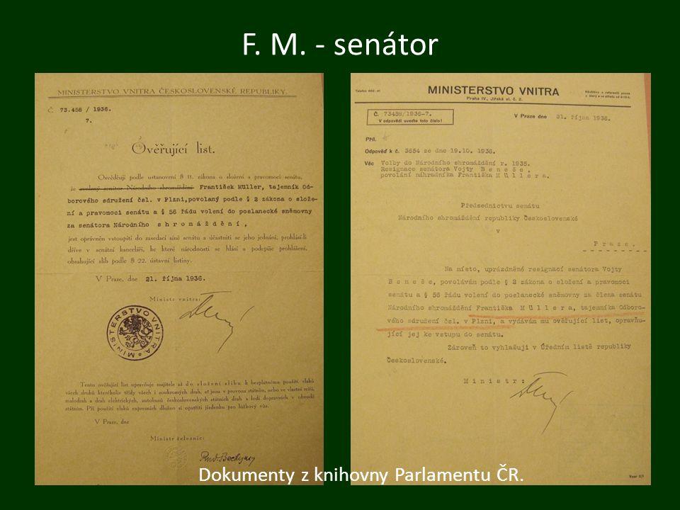 Dokumenty z knihovny Parlamentu ČR. F. M. - senátor