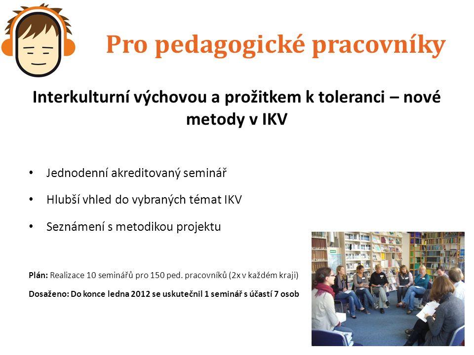 Pro pedagogické pracovníky Interkulturní výchovou a prožitkem k toleranci – nové metody v IKV Jednodenní akreditovaný seminář Hlubší vhled do vybraných témat IKV Seznámení s metodikou projektu Plán: Realizace 10 seminářů pro 150 ped.