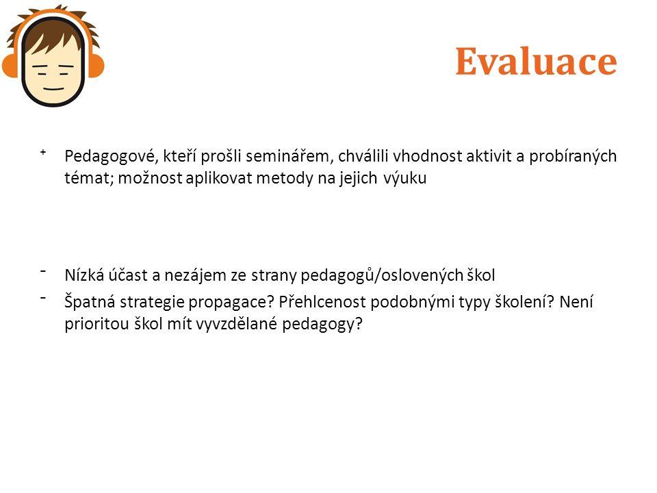 Evaluace ⁺Pedagogové, kteří prošli seminářem, chválili vhodnost aktivit a probíraných témat; možnost aplikovat metody na jejich výuku ⁻Nízká účast a n