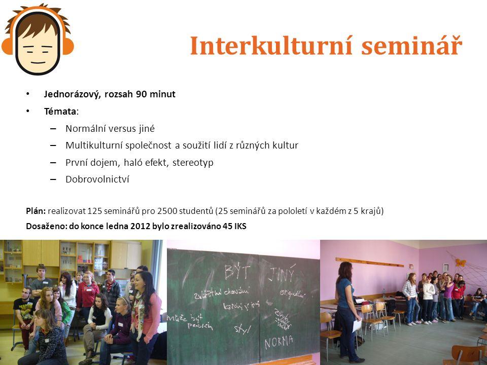 Interkulturní seminář Jednorázový, rozsah 90 minut Témata: – Normální versus jiné – Multikulturní společnost a soužití lidí z různých kultur – První d