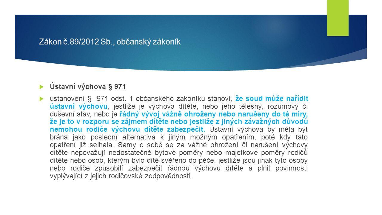 Zákon č.89/2012 Sb., občanský zákoník  Ústavní výchova § 971  ustanovení § 971 odst.