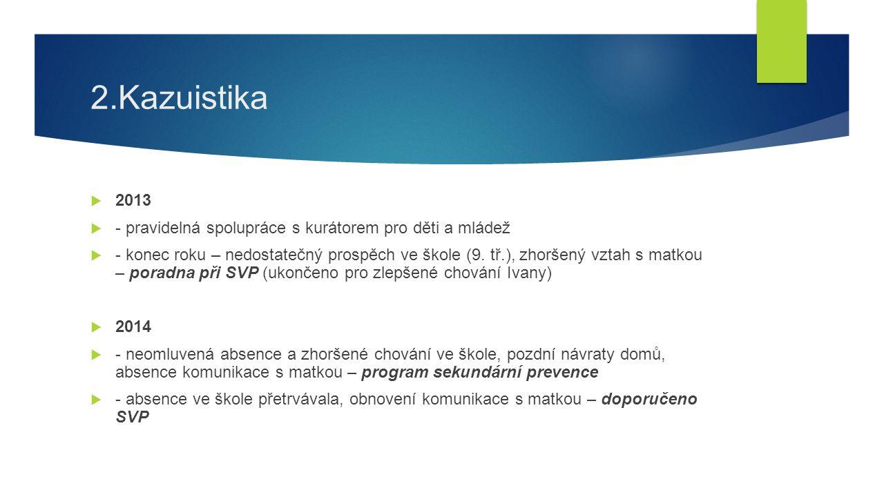 2.Kazuistika  2013  - pravidelná spolupráce s kurátorem pro děti a mládež  - konec roku – nedostatečný prospěch ve škole (9.