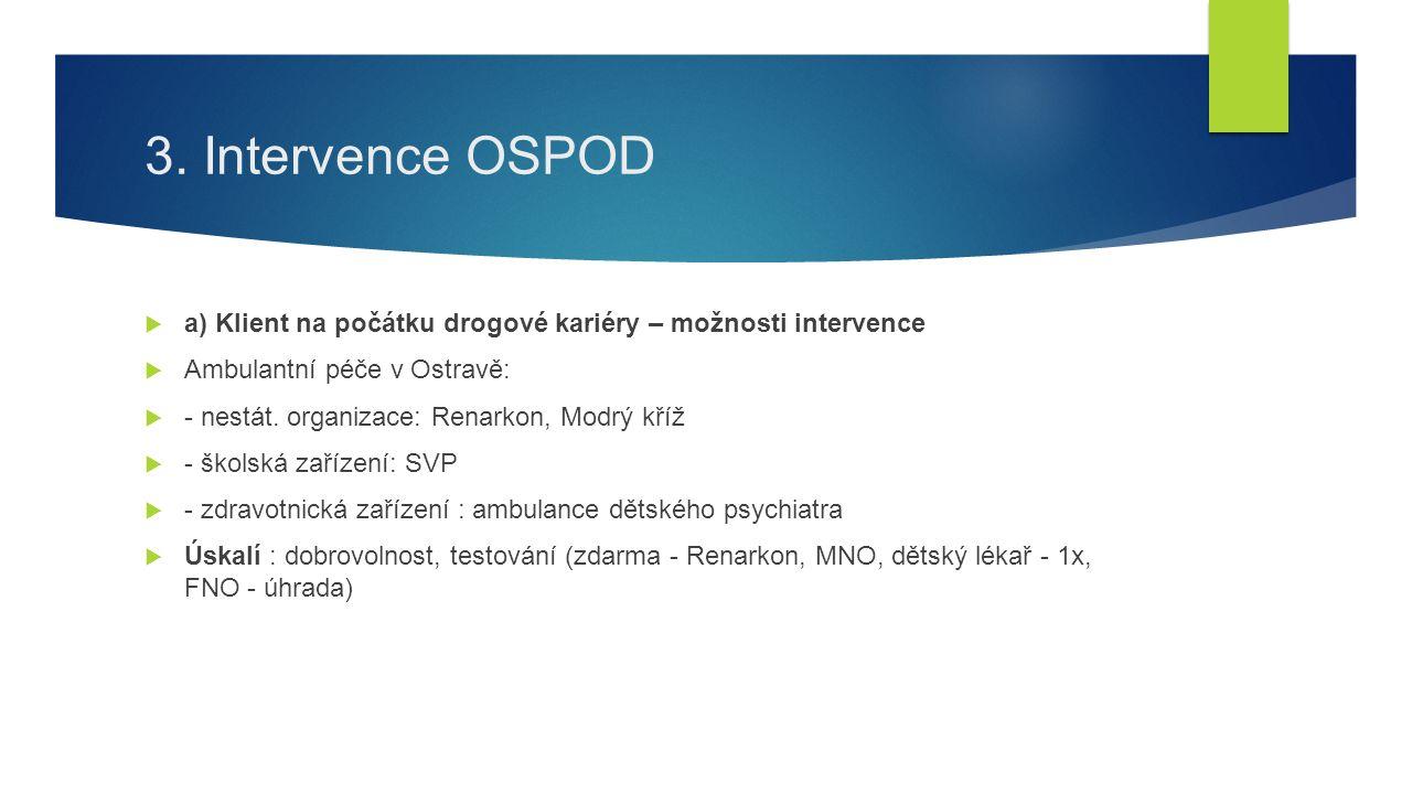 3. Intervence OSPOD  a) Klient na počátku drogové kariéry – možnosti intervence  Ambulantní péče v Ostravě:  - nestát. organizace: Renarkon, Modrý
