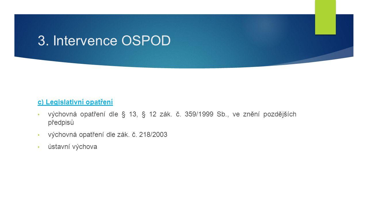 3.Intervence OSPOD c) Legislativní opatření výchovná opatření dle § 13, § 12 zák.
