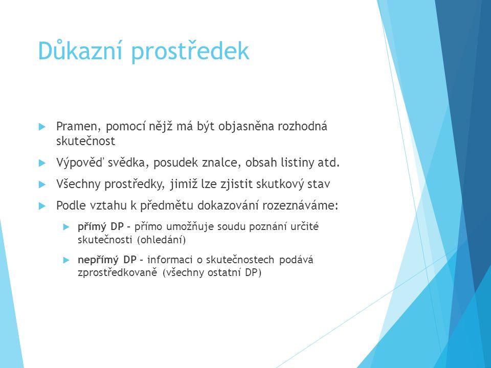 Pojem procesního dokazování Dokazování právem upravený postup soudu, účastníků a dalších osob zúčastněných na řízení při získávání zpráv (informací, p