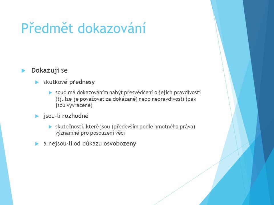 Schéma Důkazní prostředek důkaz listinou Nositel důkazu smlouva o dílo Důkaz ze smlouvy získaný poznatek kupř.