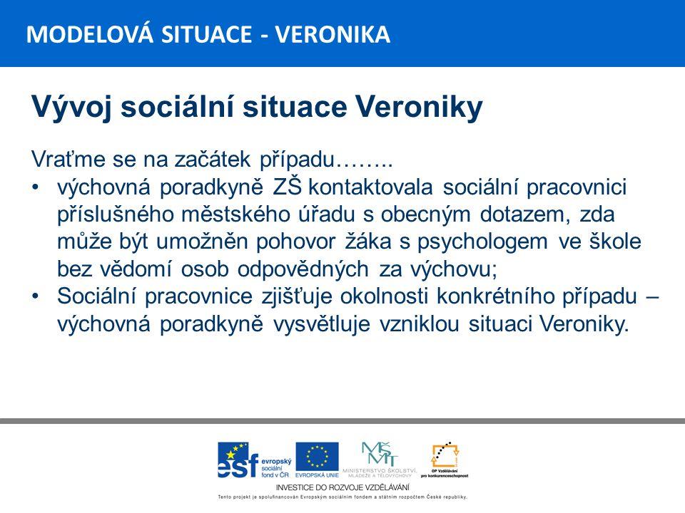 MODELOVÁ SITUACE - VERONIKA Vývoj sociální situace Veroniky Vraťme se na začátek případu……..