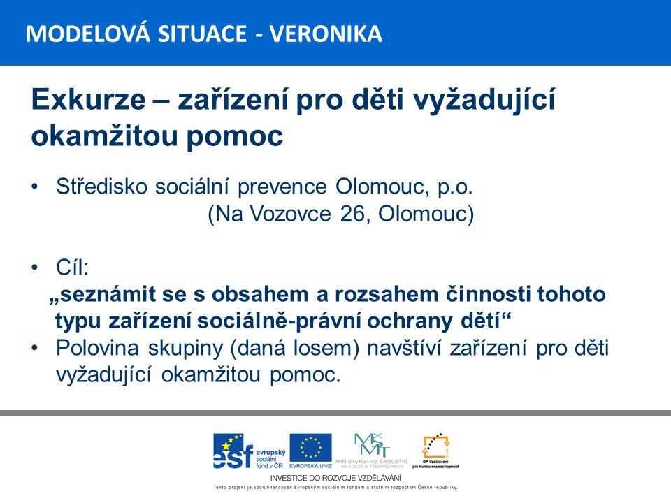 MODELOVÁ SITUACE - VERONIKA Exkurze – zařízení pro děti vyžadující okamžitou pomoc Středisko sociální prevence Olomouc, p.o.