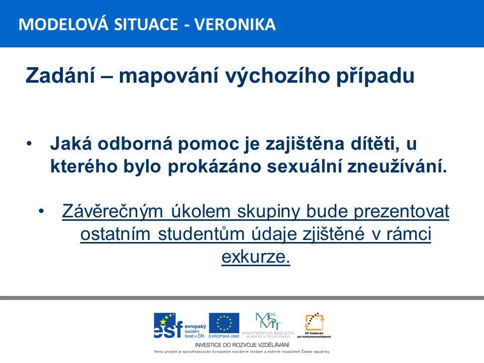 MODELOVÁ SITUACE - VERONIKA Zadání – mapování výchozího případu Jaká odborná pomoc je zajištěna dítěti, u kterého bylo prokázáno sexuální zneužívání.