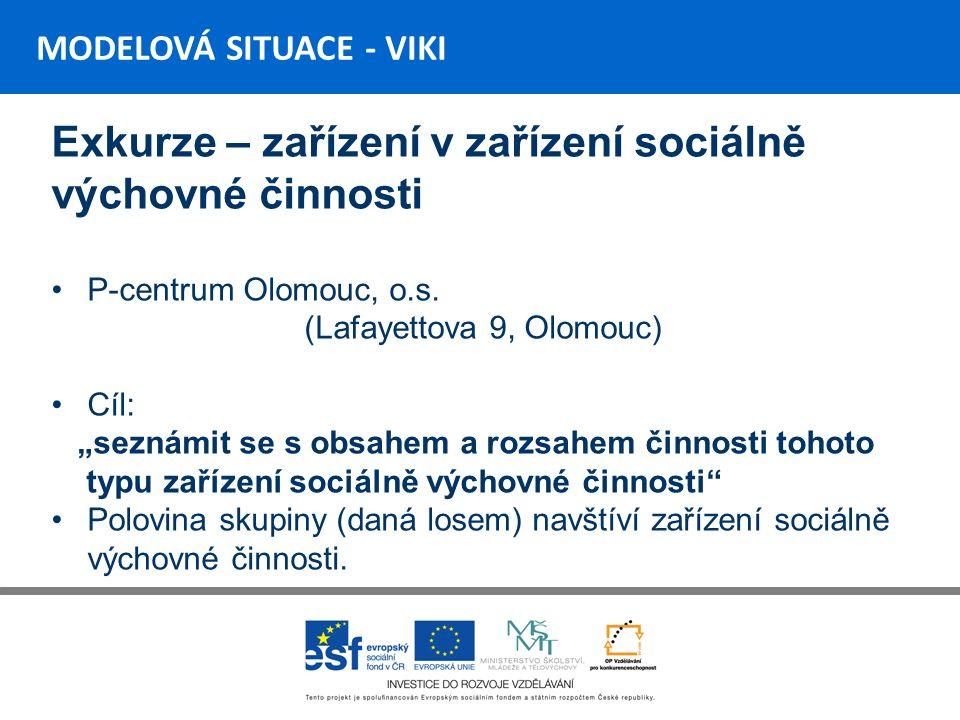 MODELOVÁ SITUACE - VIKI Exkurze – zařízení v zařízení sociálně výchovné činnosti P-centrum Olomouc, o.s.