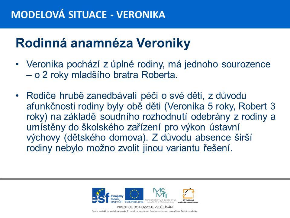 MODELOVÁ SITUACE - VERONIKA Rodinná anamnéza Veroniky Rodiče Veroniky byli zbaveni rodičovské zodpovědnosti – důvodem byl absolutní nezájem o Veroniku a jejího bratra Roberta.