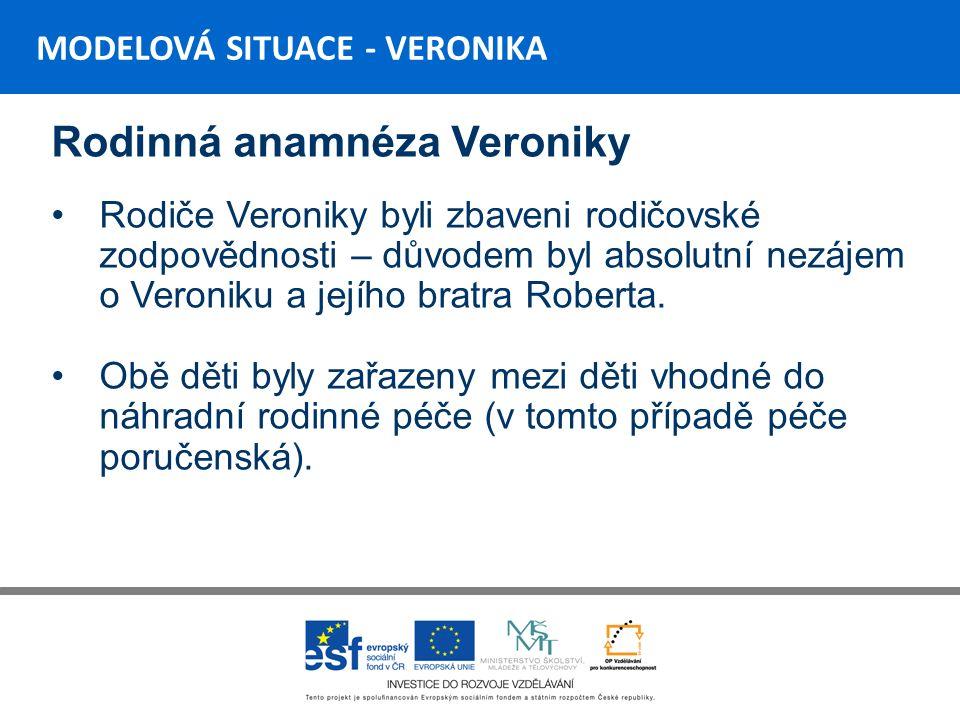 MODELOVÁ SITUACE - VERONIKA Závěr Veronika v loňském roce porodila zdravou dceru Její budoucnost však zůstává nejistá…..