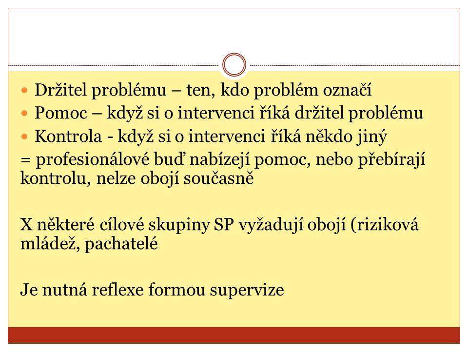 Držitel problému – ten, kdo problém označí Pomoc – když si o intervenci říká držitel problému Kontrola - když si o intervenci říká někdo jiný = profesionálové buď nabízejí pomoc, nebo přebírají kontrolu, nelze obojí současně X některé cílové skupiny SP vyžadují obojí (riziková mládež, pachatelé Je nutná reflexe formou supervize