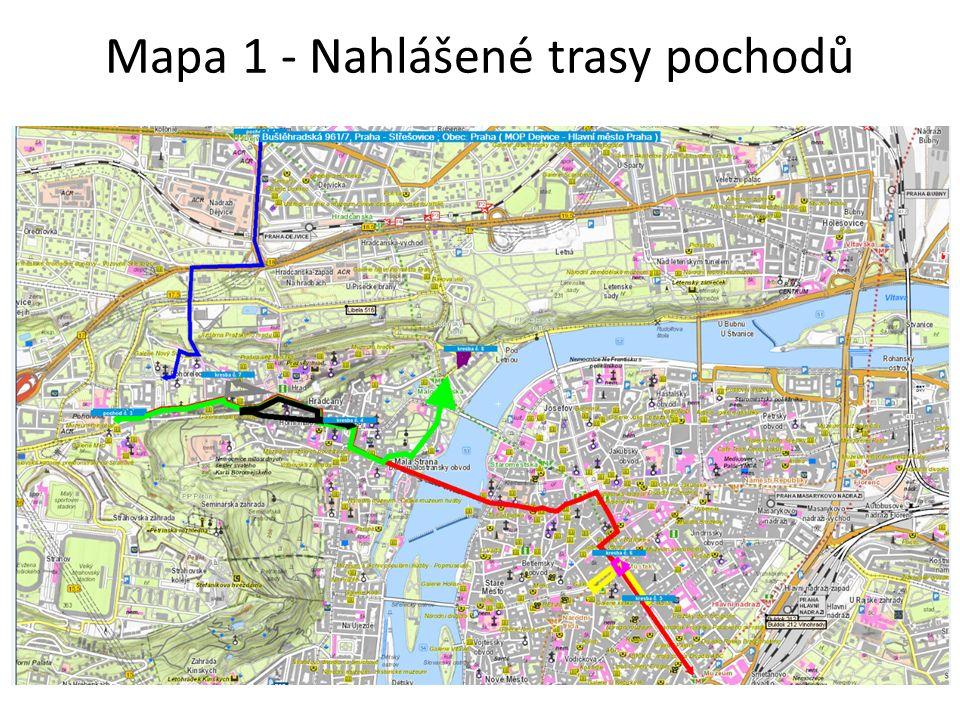 Mapa 1 - Nahlášené trasy pochodů