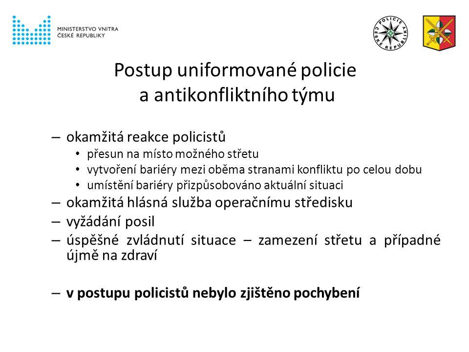 Postup uniformované policie a antikonfliktního týmu – okamžitá reakce policistů přesun na místo možného střetu vytvoření bariéry mezi oběma stranami konfliktu po celou dobu umístění bariéry přizpůsobováno aktuální situaci – okamžitá hlásná služba operačnímu středisku – vyžádání posil – úspěšné zvládnutí situace – zamezení střetu a případné újmě na zdraví – v postupu policistů nebylo zjištěno pochybení