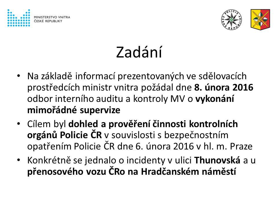 Zadání Na základě informací prezentovaných ve sdělovacích prostředcích ministr vnitra požádal dne 8.