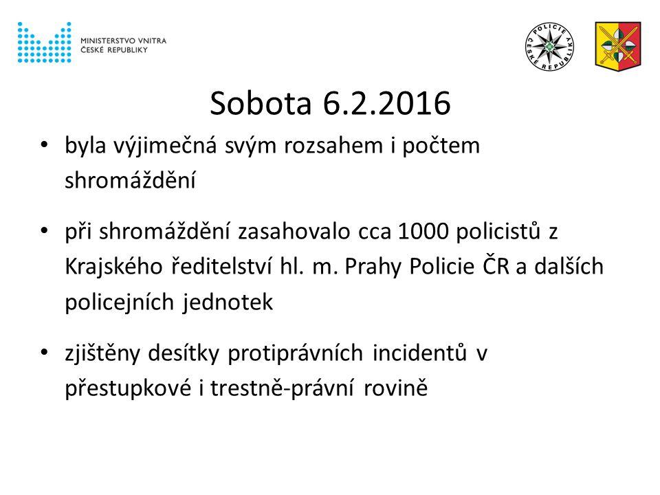 Sobota 6.2.2016 byla výjimečná svým rozsahem i počtem shromáždění při shromáždění zasahovalo cca 1000 policistů z Krajského ředitelství hl.