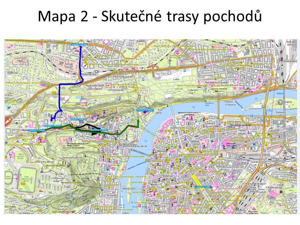 Mapa 2 - Skutečné trasy pochodů