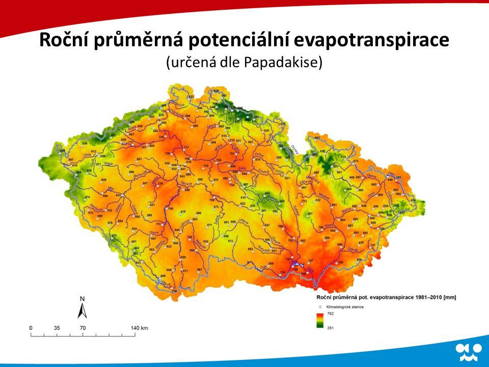 Roční průměrná potenciální evapotranspirace (určená dle Papadakise)