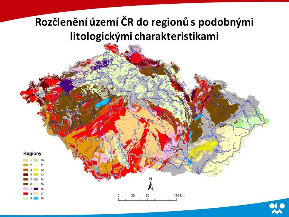 Rozčlenění území ČR do regionů s podobnými litologickými charakteristikami
