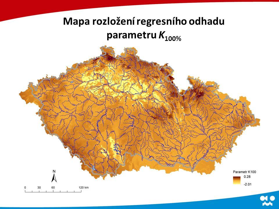 Mapa rozložení regresního odhadu parametru K 100%