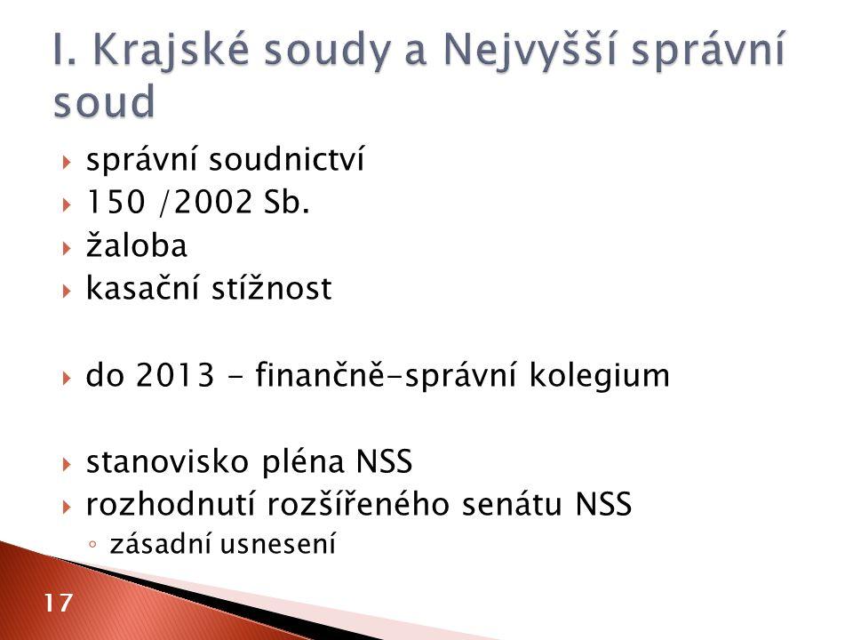  správní soudnictví  150 /2002 Sb.  žaloba  kasační stížnost  do 2013 - finančně-správní kolegium  stanovisko pléna NSS  rozhodnutí rozšířeného