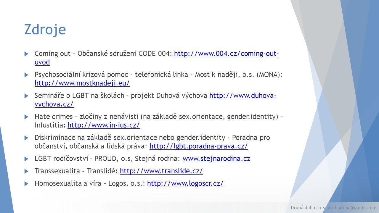 Zdroje  Coming out – Občanské sdružení CODE 004: http://www.004.cz/coming-out- uvodhttp://www.004.cz/coming-out- uvod  Psychosociální krizová pomoc