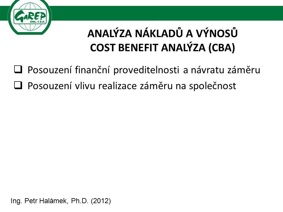ANALÝZA NÁKLADŮ A VÝNOSŮ COST BENEFIT ANALÝZA (CBA)  Posouzení finanční proveditelnosti a návratu záměru  Posouzení vlivu realizace záměru na společ