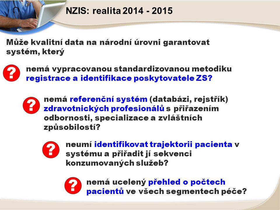 NZIS: realita 2014 - 2015 nemá vypracovanou standardizovanou metodiku registrace a identifikace poskytovatele ZS.
